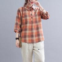 shirt Picture color L [90-110 Jin], XL [110-125 Jin], 2XL [125-140 Jin], 3XL [140-155 Jin], 4XL [155-170 Jin], 5XL [170-185 Jin] Summer 2021 cotton 51% (inclusive) - 70% (inclusive) elbow sleeve commute Regular V-neck Three buttons routine lattice Straight cylinder literature Button