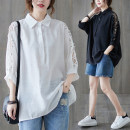 Women's large Summer 2021 White, black Average size [100-160 kg] shirt singleton  commute easy moderate Cardigan three quarter sleeve Solid color literature Polo collar Medium length cotton Three dimensional cutting 51% (inclusive) - 70% (inclusive)