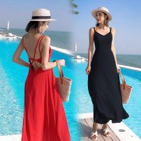 Dress Summer of 2019 Red, black S,M,L,XL longuette singleton  Sleeveless Sweet V-neck High waist Solid color Socket Big swing routine camisole 25-29 years old Other / other backless Chiffon polyester fiber Bohemia