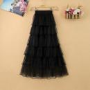 skirt Summer of 2019 Average size Pink apricot black white Mid length dress commute High waist Cake skirt Solid color Type A Zeyalan Korean version Pure e-commerce (online only)