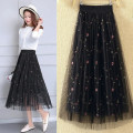 skirt Summer 2021 S,M,L,XL Black 80cm, apricot 80cm, pink 80cm, white 80cm Mid length dress Versatile High waist Pleated skirt Broken flowers Type A 35-39 years old DD-65 81% (inclusive) - 90% (inclusive) Lace polyester fiber Embroidery, three-dimensional decoration, gauze net