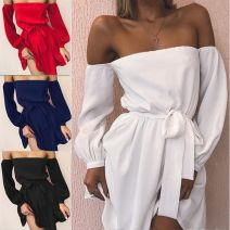 Dress Summer of 2018 White, black, red, blue S,M,L,XL Short skirt singleton  Long sleeves street One word collar High waist Solid color Socket other routine Others Other Open back, lace up, stitching 81% (inclusive) - 90% (inclusive) brocade polyester fiber Europe and America