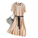 Dress Spring 2021 Beige wave point M,L,XL Middle-skirt singleton  Short sleeve commute Doll Collar Loose waist Dot Socket Ruffle Skirt routine Others 25-29 years old Type H Simplicity Lace up, stitching, printing LQ2054 More than 95% Crepe de Chine silk