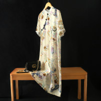Dress Spring 2021 Apricot printing M,L,XL Mid length dress singleton  Short sleeve commute stand collar High waist Decor Socket A-line skirt routine Others 30-34 years old Type H Retro Print, button LQ4925 More than 95% silk