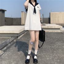 Dress Summer 2021 white Average size Short skirt Short sleeve Sweet Admiral middle-waisted routine 18-24 years old Type A Other / other Embroidery 31% (inclusive) - 50% (inclusive) cotton solar system