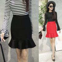 skirt Autumn 2016 S,M,L,XL,2XL Red, black, pink Short skirt commute High waist Ruffle Skirt Solid color Ol style