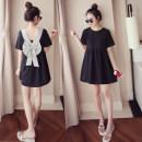 Dress Summer 2020 black S. M, l, XL, 2XL, 3XL, 4XL, XXXs pre-sale Mid length dress Short sleeve commute Crew neck Solid color Other / other Korean version 8037#