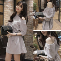 Dress Summer of 2018 Light grey, safety Pants White S,M,L,XL Short skirt singleton  three quarter sleeve Sweet Half high collar Loose waist Solid color Socket A-line skirt routine Others 18-24 years old Type A Other / other Hollowing out 51% (inclusive) - 70% (inclusive) brocade cotton Mori