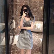 Dress Summer 2020 black S. M, l, XL, XXXs pre-sale Mid length dress singleton  Short sleeve commute V-neck lattice Socket Korean version 81% (inclusive) - 90% (inclusive) other