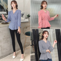 shirt Red, blue, black, safety pants, white S,M,L,XL,2XL Spring of 2019 cotton 51% (inclusive) - 70% (inclusive) three quarter sleeve commute Regular routine lattice Self cultivation Other / other Korean version