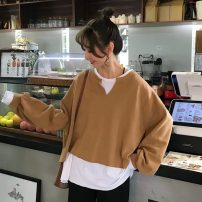 Sweater / sweater Autumn 2020 Khaki, grey, leggings, white M,L,XL,XXL Long sleeves routine Socket Fake two pieces routine easy commute routine Solid color 18-24 years old Korean version