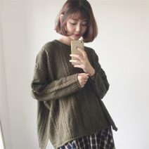Wool knitwear Autumn of 2019 Average size Army green, khaki, off white, dog head T-shirt Long sleeves singleton  Socket other 81% (inclusive) - 90% (inclusive) Medium length thick commute easy routine Solid color Socket Korean version 18-24 years old Other / other