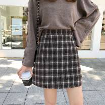 skirt Winter of 2018 S. M, l, XL, XXXs pre-sale Picture color Short skirt commute High waist A-line skirt lattice Type A 18-24 years old 31% (inclusive) - 50% (inclusive) Other / other Korean version
