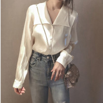 shirt Apricot, haze blue, brown pre-sale S,M,L,XL,2XL Spring 2020 polyester fiber 31% (inclusive) - 50% (inclusive) Long sleeves Versatile Regular Lotus leaf collar Single row multi button routine Solid color 18-24 years old Self cultivation Other / other velvet