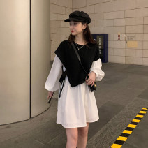 Dress Autumn 2020 Black and white M. L, XL, 2XL, XXS pre-sale Middle-skirt Fake two pieces Long sleeves commute Crew neck High waist Solid color Socket A-line skirt bishop sleeve Others Type A Korean version Splicing 81% (inclusive) - 90% (inclusive) Chiffon cotton