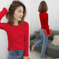 T-shirt Red, light blue S,M,L Spring 2021 Long sleeves Crew neck Self cultivation Regular routine street cotton 86% (inclusive) -95% (inclusive) bobowaltz Europe and America