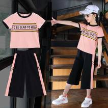 suit 9, 8, 7, 6, 5, 4, 3, 14, 13, 12, 11, 10 Weituo nobility summer female Short sleeve + pants motion other Flax 100% GjMzXb 520 pink 520 rose 777 green 777 black 777 red purple fashion suit cinnabar fashion suit 110cm 120cm 130cm 140cm 150cm 160cm