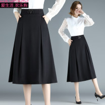 skirt Spring 2021 M [recommended 85-100 kg], l [recommended 100-115 kg], XL [recommended 115-125 kg], 2XL [recommended 125-135 kg], 3XL [recommended 135-150 kg] black Mid length dress commute High waist A-line skirt Solid color Type A other Folds, pockets Simplicity