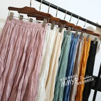 skirt Autumn 2020 Average size White, black, khaki, apricot, green, lotus root pink, 90 long longuette commute High waist Pleated skirt Solid color Type A other other fold Korean version