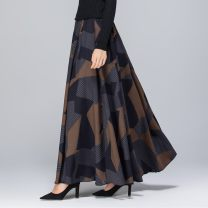 skirt Winter 2020 S (waist 1.8-1.9 feet), m (waist 2.0-2.1 feet, l (waist 2.2-2.3 feet), XL (waist 2.4-2.5 feet), 2XL 2.6-2.7 feet, please leave a message about waist and skirt length for customization longuette Retro High waist Pleated skirt Decor Type A 40-49 years old other Pocket, panel, print