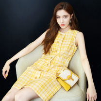Women's large Summer 2021 yellow Large XL, large L, s, M Dress singleton  commute Sleeveless lattice Korean version Crew neck other other MAJE BRIAN Button 96% and above Short skirt other