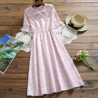 Dress Summer 2020 S,M,L,XL singleton  Short sleeve High waist Socket A-line skirt Type X cotton