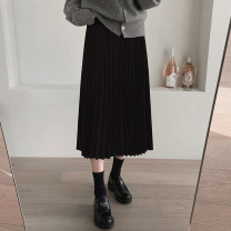 skirt Autumn 2020 S,M,L,XL Apricot, black longuette commute High waist Pleated skirt Solid color Type A 18-24 years old 91% (inclusive) - 95% (inclusive) other polyester fiber fold Korean version