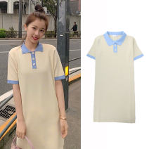Dress Summer 2020 Yellow blue collar S,M,L,XL Miniskirt singleton  Short sleeve Sweet Polo collar Solid color routine Others 18-24 years old Other / other knitting college