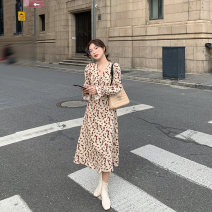 Dress Autumn 2020 Decor, decor [pre sale] XS,S,M,L Mid length dress singleton  Long sleeves commute V-neck middle-waisted Decor A-line skirt routine Others Type A HUCHUJING Korean version