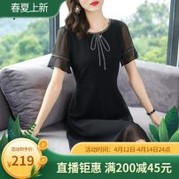 Women's large Summer 2020 Black, Navy Dress singleton  commute easy moderate Socket Short sleeve Solid color Simplicity other polyester Three dimensional cutting pagoda sleeve AP20X20147 Aipu 35-39 years old Bandage 96% and above Medium length other bow