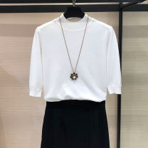 T-shirt 2 / s, 3 / m, 4 / L, 5 / XL Summer 2021 elbow sleeve Half high collar Self cultivation Regular routine commute nylon 30% and below Simplicity classic Solid color Pretend to be amashizheng