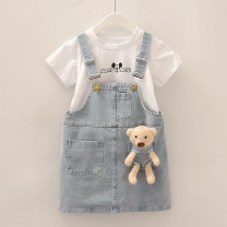 Dress princess Solid color Class B Short sleeve Zhejiang Province Huzhou City Chinese Mainland female Other / other Three years old, 18 months old, 5 years old, 12 months old, 6 years old, 2 years old, 4 years old Princess Dress cotton Cotton 100% summer 90cm,100cm,110cm,120cm,130cm