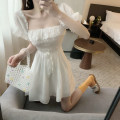 Dress Spring 2020 White, black Average size Middle-skirt singleton  Short sleeve commute High waist Solid color Socket 18-24 years old Type A Korean version 81% (inclusive) - 90% (inclusive)