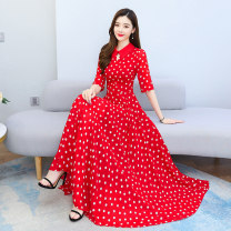 Dress Spring 2021 Red, black M,L,XL,2XL,3XL,4XL longuette singleton  Short sleeve commute other High waist Dot zipper Big swing other Others Type A Other / other Korean version 1.7-5 51% (inclusive) - 70% (inclusive) Chiffon polyester fiber