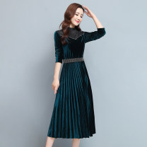 Dress Autumn 2020 Green, black M,L,XL,2XL,3XL Mid length dress singleton  Long sleeves commute Half high collar middle-waisted Solid color Pleated skirt routine Others Type A Korean version Gauze 51% (inclusive) - 70% (inclusive)