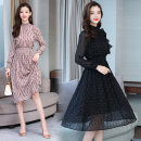Dress Autumn of 2019 Pink, black S,M,L,XL Mid length dress singleton  Long sleeves commute stand collar middle-waisted other Socket A-line skirt other Others Type A Other / other Korean version 51% (inclusive) - 70% (inclusive) Chiffon other