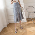 skirt Summer 2021 S,M,L Apricot, blue, black Mid length dress Versatile High waist A-line skirt Dot Type A 4.6-5 51% (inclusive) - 70% (inclusive) other polyester fiber printing