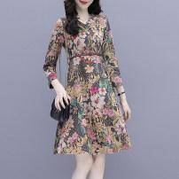 Dress Spring 2021 Decor M,L,XL,2XL,3XL Mid length dress singleton  Long sleeves commute V-neck High waist Decor A-line skirt routine Others Type A Korean version 2.22-3 51% (inclusive) - 70% (inclusive) Chiffon