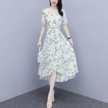 Dress Summer 2020 White, red, blue S,M,L,XL,2XL,3XL Mid length dress singleton  Short sleeve commute V-neck middle-waisted Broken flowers Irregular skirt routine Others Type A Korean version 6.15-3 51% (inclusive) - 70% (inclusive) Chiffon
