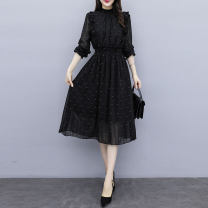 Dress Spring 2020 black S,M,L,XL,2XL,3XL Mid length dress singleton  Long sleeves commute stand collar middle-waisted Dot Socket A-line skirt other Others Type A Other / other Korean version 2.20-5 51% (inclusive) - 70% (inclusive) Chiffon other
