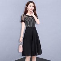 Dress Summer 2020 black M,L,XL,2XL,3XL,4XL Mid length dress singleton  Short sleeve commute Crew neck middle-waisted stripe zipper A-line skirt routine Others Type A Other / other Korean version Splicing 4.6-5 51% (inclusive) - 70% (inclusive) other polyester fiber