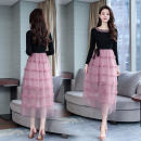 Dress Autumn of 2018 Picture color S,M,L,XL,2XL longuette singleton  Long sleeves commute Crew neck middle-waisted Solid color zipper A-line skirt routine Others Type A Korean version Lace up, stitching, mesh, zipper 51% (inclusive) - 70% (inclusive) other polyester fiber