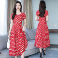 Dress Summer of 2019 White dot on red background M,L,XL,2XL,3XL longuette singleton  Short sleeve Sweet Crew neck middle-waisted Dot Socket Big swing routine Others Type A Other / other zipper 51% (inclusive) - 70% (inclusive) Chiffon other Bohemia