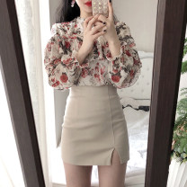 skirt Winter of 2019 XS,S,M,L Apricot, black Short skirt Versatile High waist A-line skirt Solid color Type A 18-24 years old Wool Other / other Asymmetric, zipper