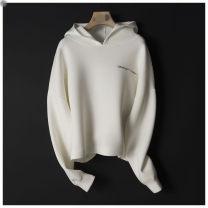 Sweater / sweater Spring 2020 Coconut milk white cotton thin, elegant black cotton thin XS,S,M,L,XL Long sleeves routine Socket singleton  Hood 96% and above cotton