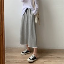Women's large Summer 2020 Black, gray XL (100-125 kg), 2XL (125-150 kg), 3XL (150-180 kg), 4XL (180-210 kg) skirt Sweet moderate cotton 18-24 years old 81% (inclusive) - 90% (inclusive) Medium length college