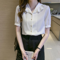 Lace / Chiffon Summer 2021 Short sleeve commute Regular payment singleton  V-neck Cardigan Straight tube routine Solid color 18-24 years old wl30 04 Button Korean version 71% (inclusive) - 80% (inclusive) polyester fiber white S,M,L,XL,2XL
