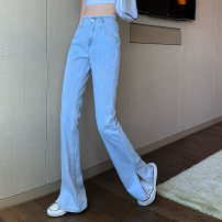 Jeans Spring 2021 Graph color S,M,L trousers High waist Straight pants routine 18-24 years old other other Dark color 84 11 51% (inclusive) - 70% (inclusive)