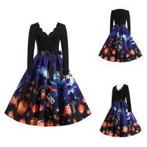Dress Summer 2020 S,M,L,XL,XXL,XXXL Mid length dress singleton  Long sleeves V-neck middle-waisted Socket Big swing Independent brand Printing, splicing polyester fiber