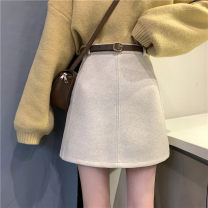 Women's large Winter 2020, autumn 2020 Black, beige M [recommended 80-100 Jin], l [recommended 100-120 Jin], XL [120-140 Jin], 2XL [140-160 Jin recommended], 3XL [160-180 Jin recommended], 4XL [180-200 Jin recommended] skirt commute Solid color Korean version polyester fiber zipper 30% and below